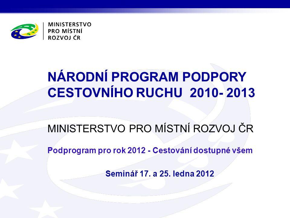 MINISTERSTVO PRO MÍSTNÍ ROZVOJ ČR Podprogram pro rok 2012 - Cestování dostupné všem Seminář 17.