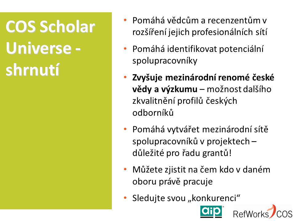Pomáhá vědcům a recenzentům v rozšíření jejich profesionálních sítí Pomáhá identifikovat potenciální spolupracovníky Zvyšuje mezinárodní renomé české vědy a výzkumu – možnost dalšího zkvalitnění profilů českých odborníků Pomáhá vytvářet mezinárodní sítě spolupracovníků v projektech – důležité pro řadu grantů.