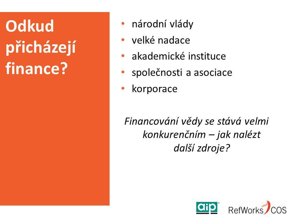 Odkud přicházejí finance? národní vlády velké nadace akademické instituce společnosti a asociace korporace Financování vědy se stává velmi konkurenční