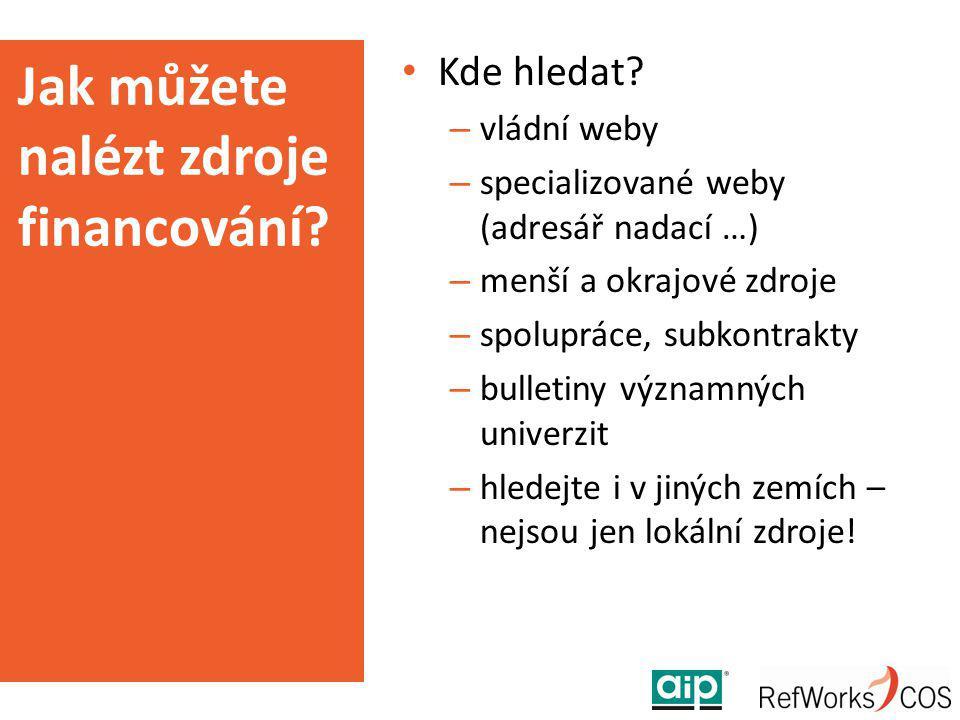 Jak můžete nalézt zdroje financování? Kde hledat? – vládní weby – specializované weby (adresář nadací …) – menší a okrajové zdroje – spolupráce, subko