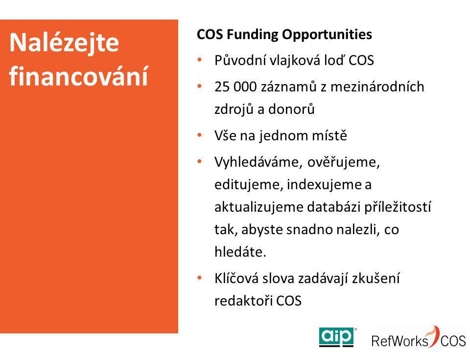 Nalézejte financování COS Funding Opportunities Původní vlajková loď COS 25 000 záznamů z mezinárodních zdrojů a donorů Vše na jednom místě Vyhledávám