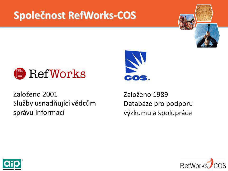 Společnost RefWorks-COS Založeno 2001 Služby usnadňující vědcům správu informací Založeno 1989 Databáze pro podporu výzkumu a spolupráce