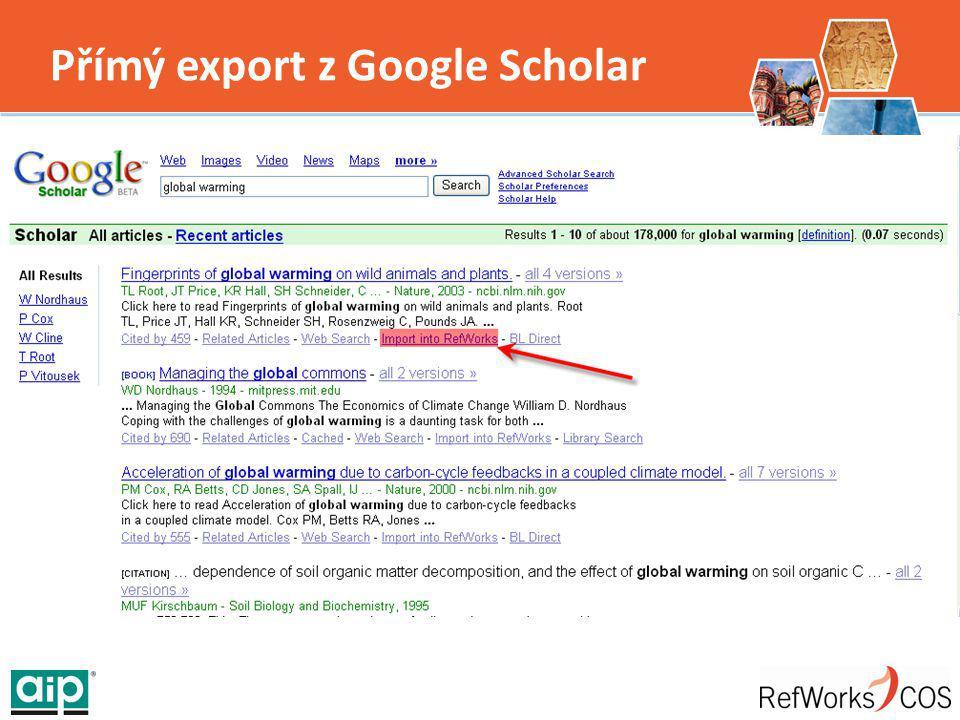 Přímý export z Google Scholar