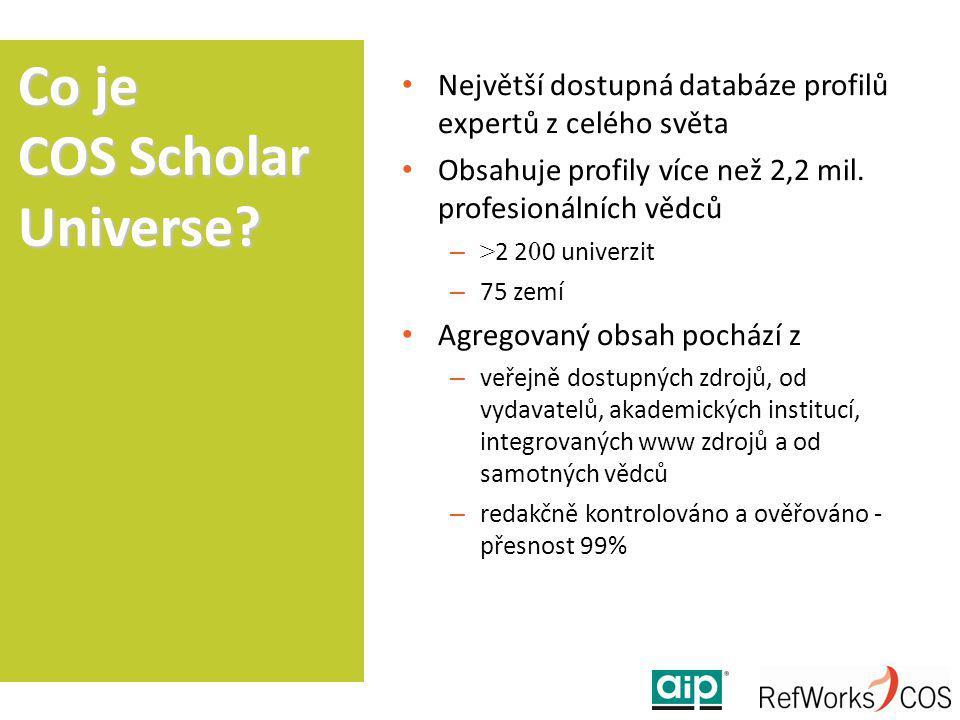 Největší dostupná databáze profilů expertů z celého světa Obsahuje profily více než 2,2 mil. profesionálních vědců – > 2 2 0 0 univerzit – 75 zemí Agr