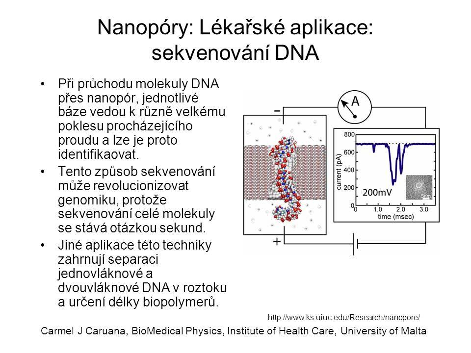 Carmel J Caruana, BioMedical Physics, Institute of Health Care, University of Malta Nanopóry: Lékařské aplikace: sekvenování DNA Při průchodu molekuly