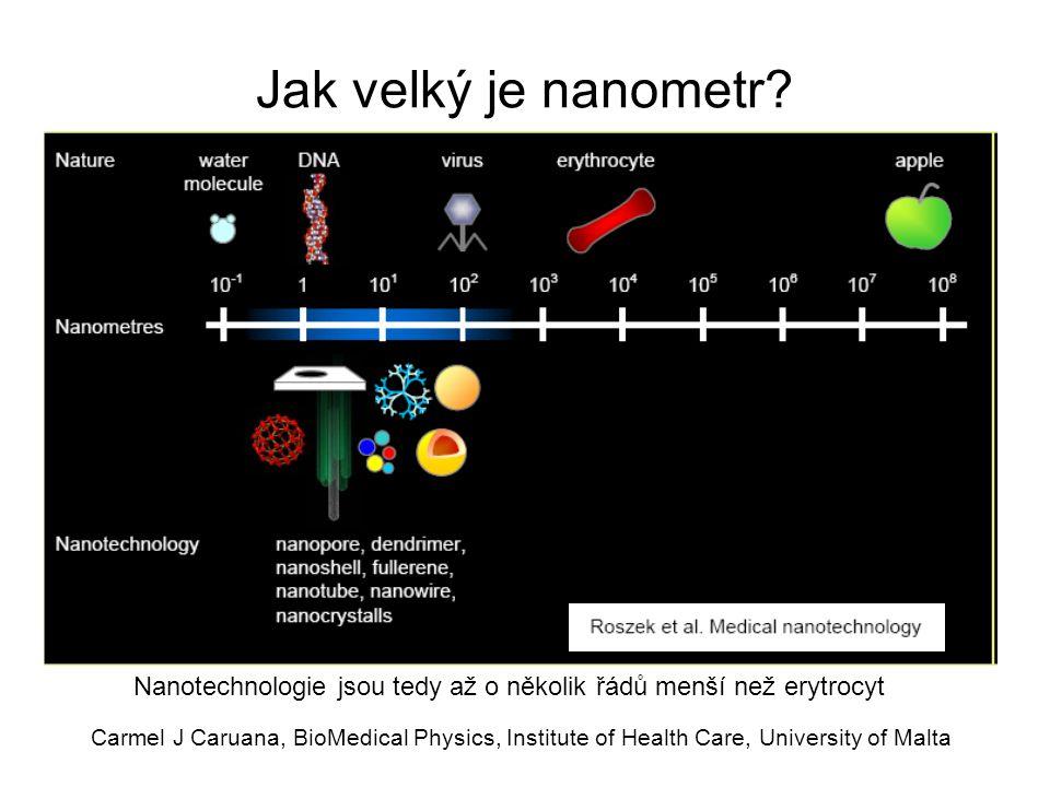 Carmel J Caruana, BioMedical Physics, Institute of Health Care, University of Malta Umělé červené krvinky ('respirocyty') Zatím teorie, velikost řádově 1  m Mohou přenést 236x více O 2 než přirozený erytrocyt Mají chemické, teplotní a tlakové senzory, vlastní nanopočítač, dálkově (re)programovatelné akustickými signály, využívají plazmatickou glukózu jako zdroj energie Prakticky nekonečná životnost (srv.