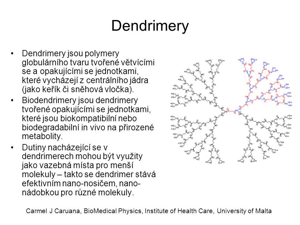 Carmel J Caruana, BioMedical Physics, Institute of Health Care, University of Malta Dendrimery Dendrimery jsou polymery globulárního tvaru tvořené vět