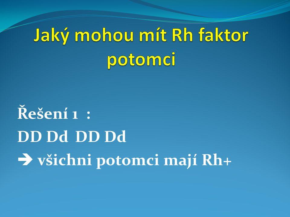 Řešení 1 : DDDdDDDd  všichni potomci mají Rh+