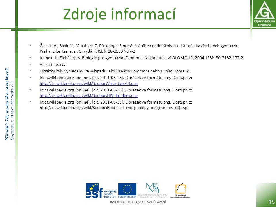 Přírodní vědy moderně a interaktivně ©Gymnázium Hranice, Zborovská 293 Zdroje informací Černík, V., Bičík, V., Martinec, Z.