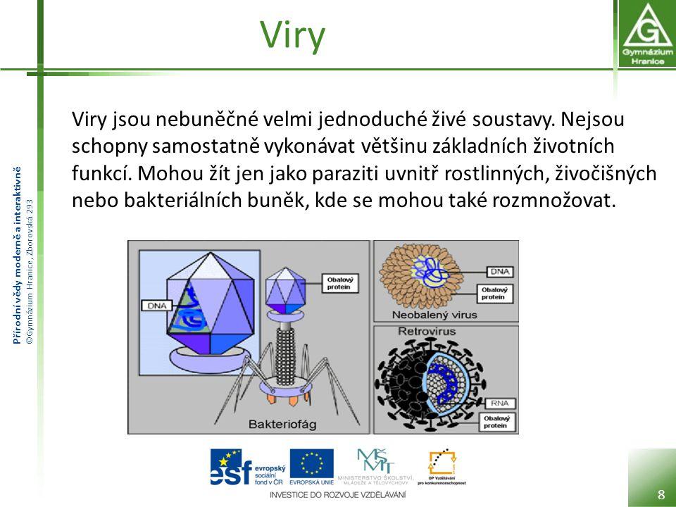 Přírodní vědy moderně a interaktivně ©Gymnázium Hranice, Zborovská 293 Viry Viry jsou nebuněčné velmi jednoduché živé soustavy.