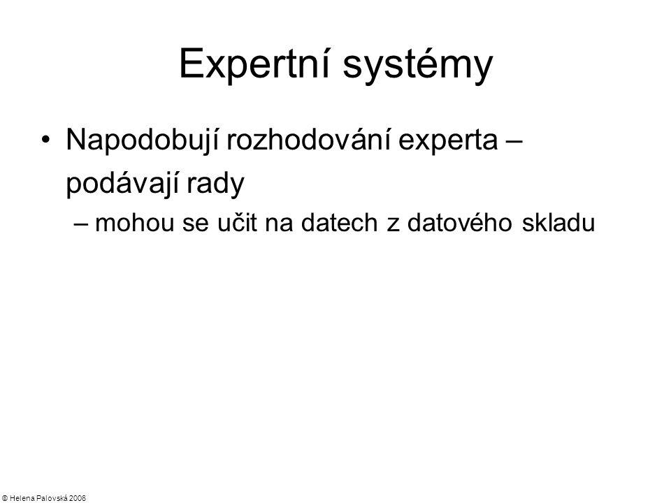 © Helena Palovská 2006 Expertní systémy Napodobují rozhodování experta – podávají rady –mohou se učit na datech z datového skladu