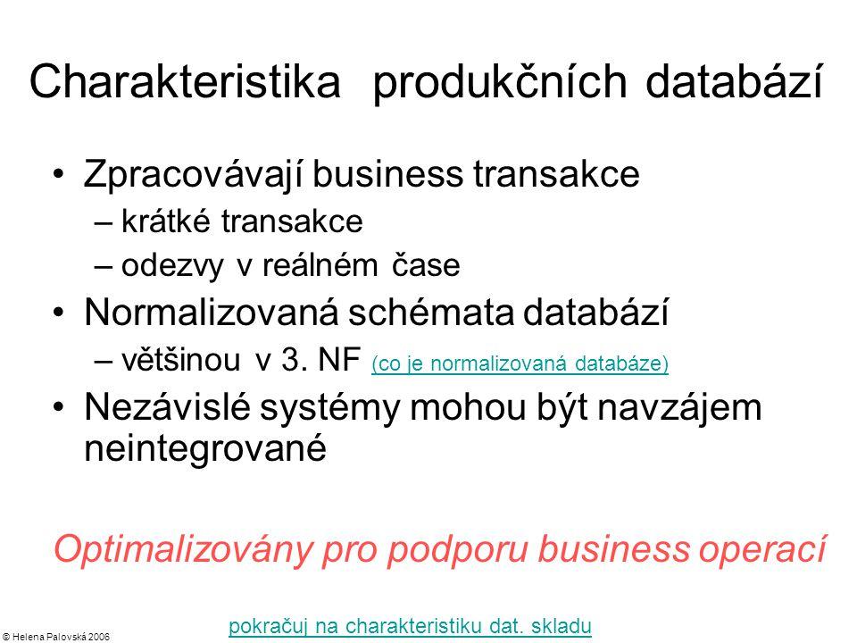 © Helena Palovská 2006 Charakteristika produkčních databází Zpracovávají business transakce –krátké transakce –odezvy v reálném čase Normalizovaná schémata databází –většinou v 3.