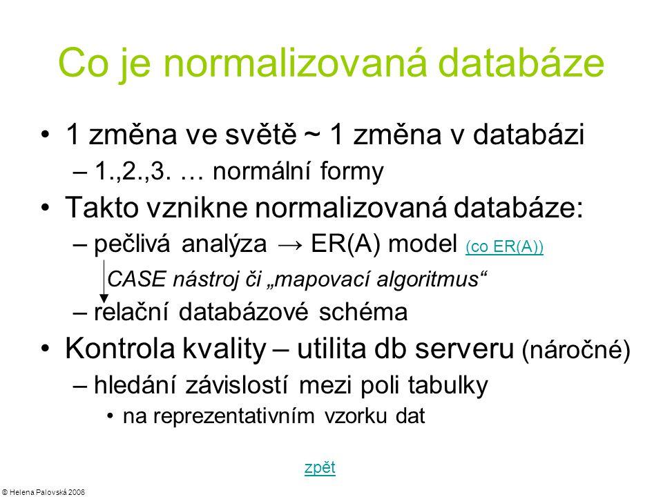© Helena Palovská 2006 Co je normalizovaná databáze 1 změna ve světě ~ 1 změna v databázi –1.,2.,3.
