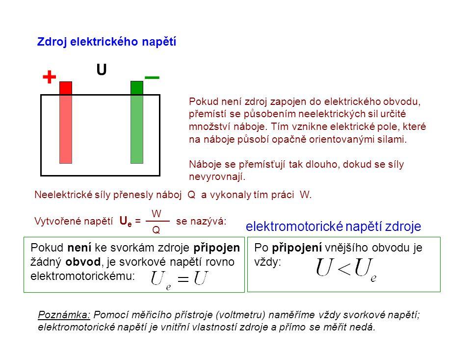 Zdroj elektrického napětí + – U Pokud není zdroj zapojen do elektrického obvodu, přemístí se působením neelektrických sil určité množství náboje.