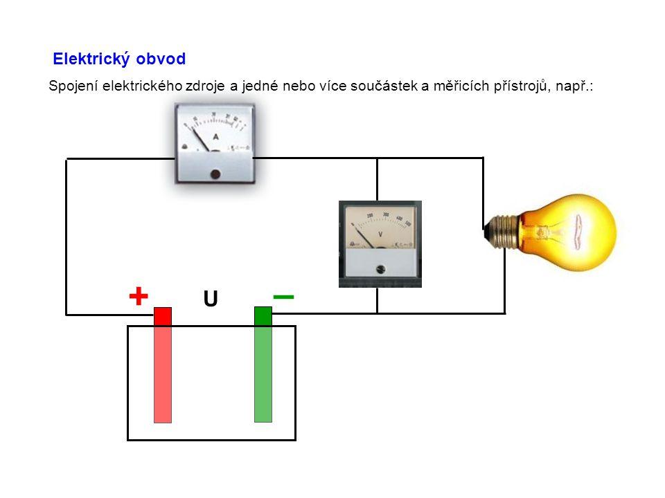 Elektrický obvod Spojení elektrického zdroje a jedné nebo více součástek a měřicích přístrojů, např.: + – U