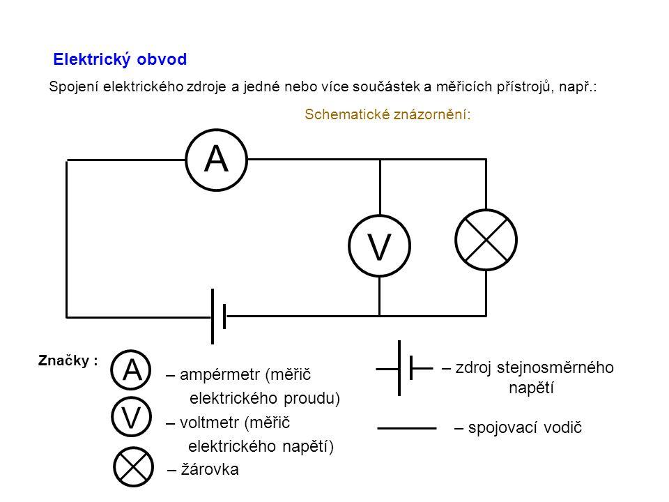 Elektrický obvod Spojení elektrického zdroje a jedné nebo více součástek a měřicích přístrojů, např.: Schematické znázornění: A V Značky : A – ampérmetr (měřič elektrického proudu) V – voltmetr (měřič elektrického napětí) – žárovka – zdroj stejnosměrného napětí – spojovací vodič
