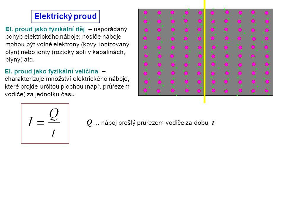 El. proud jako fyzikální děj – uspořádaný pohyb elektrického náboje; nosiče náboje mohou být volné elektrony (kovy, ionizovaný plyn) nebo ionty (rozto