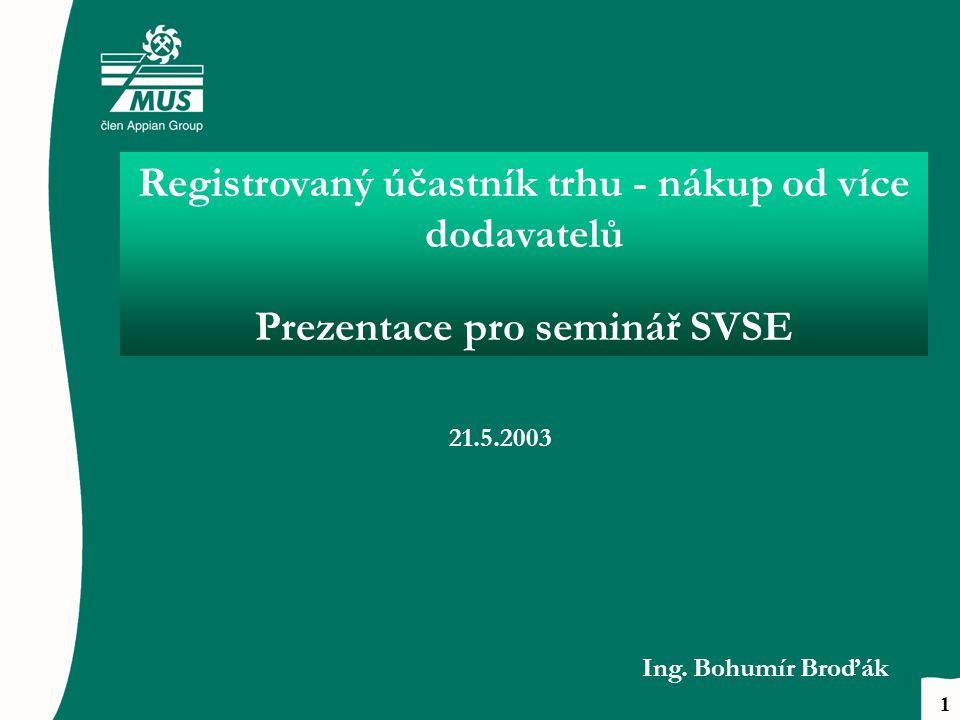 Registrovaný účastník trhu - nákup od více dodavatelů Prezentace pro seminář SVSE 21.5.2003 Ing.