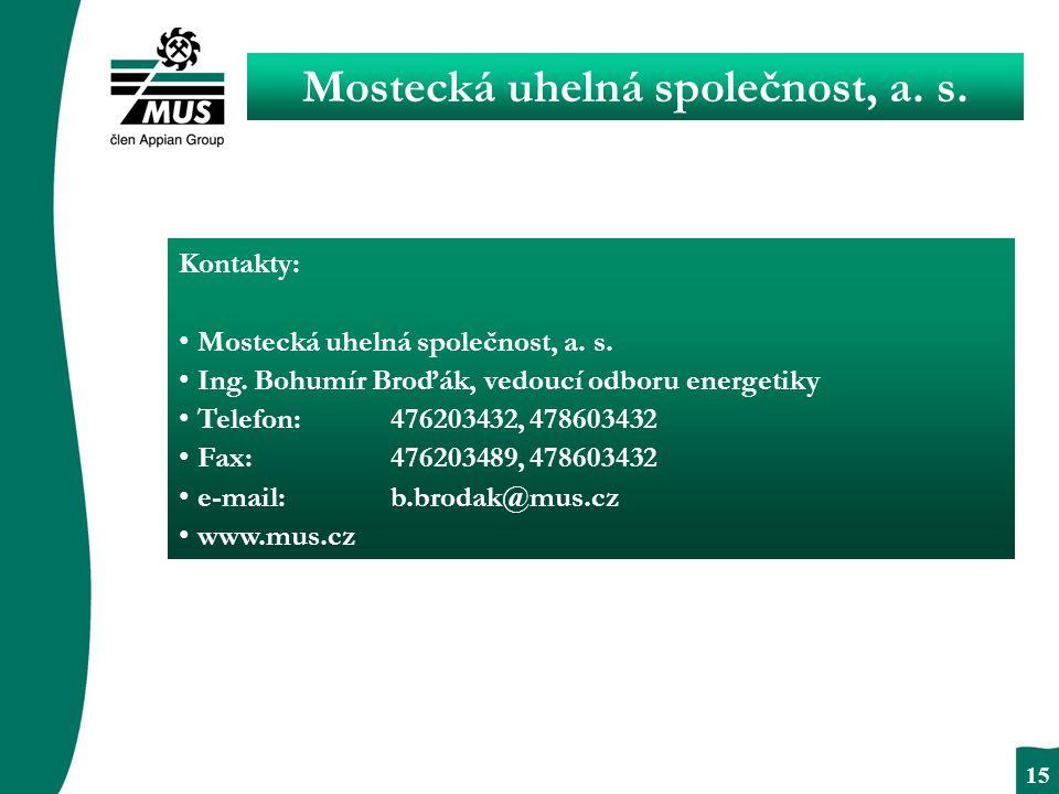 BEZPODMÍNEČNÝ RESPEKT 15 Mostecká uhelná společnost, a.