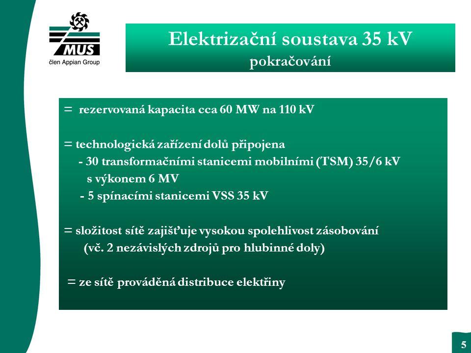 OKOM - reklama a propagace 5 = rezervovaná kapacita cca 60 MW na 110 kV = technologická zařízení dolů připojena - 30 transformačními stanicemi mobilními (TSM) 35/6 kV s výkonem 6 MV - 5 spínacími stanicemi VSS 35 kV = složitost sítě zajišťuje vysokou spolehlivost zásobování (vč.
