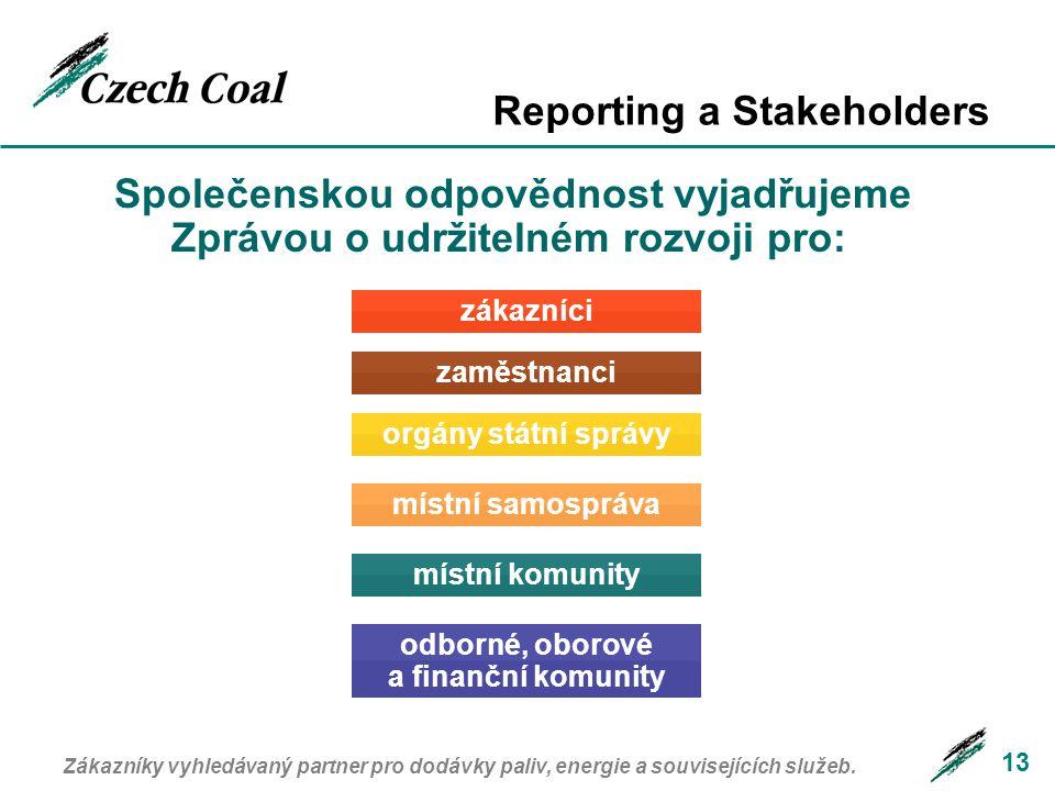 Reporting a Stakeholders 13 Společenskou odpovědnost vyjadřujeme Zprávou o udržitelném rozvoji pro: Zákazníky vyhledávaný partner pro dodávky paliv, energie a souvisejících služeb.
