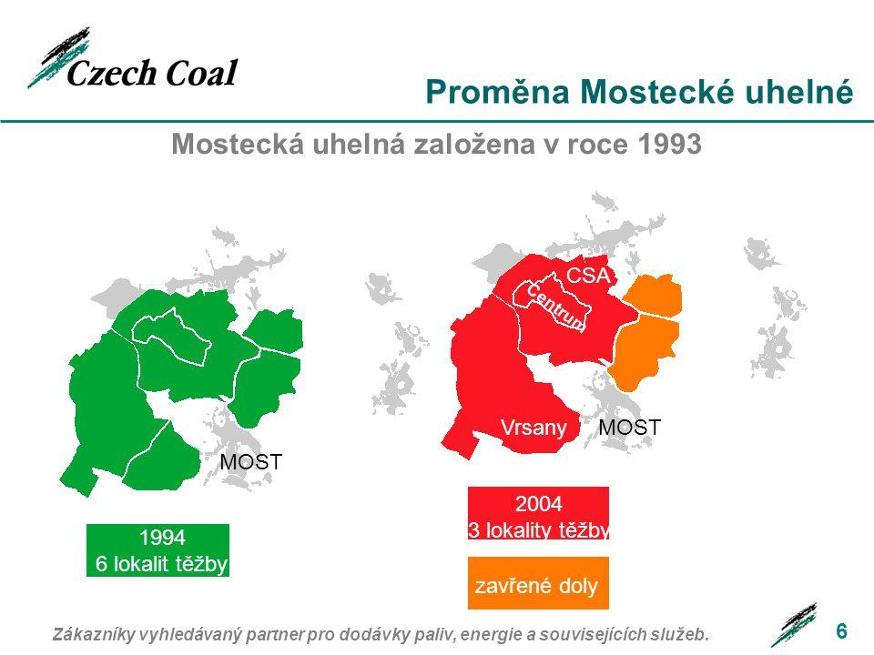 Proměna Mostecké uhelné 6 Mostecká uhelná založena v roce 1993 2004 3 lokality těžby 1994 6 lokalit těžby zavřené doly Centrum CSA VrsanyMOST Zákazníky vyhledávaný partner pro dodávky paliv, energie a souvisejících služeb.