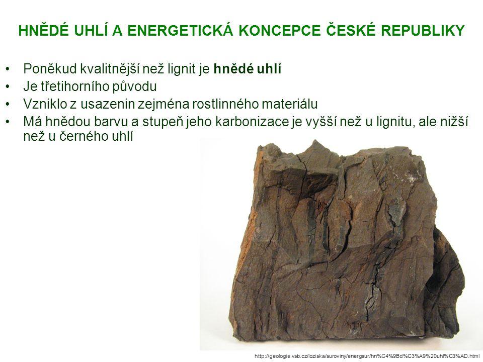 HNĚDÉ UHLÍ A ENERGETICKÁ KONCEPCE ČESKÉ REPUBLIKY Poněkud kvalitnější než lignit je hnědé uhlí Je třetihorního původu Vzniklo z usazenin zejména rostl