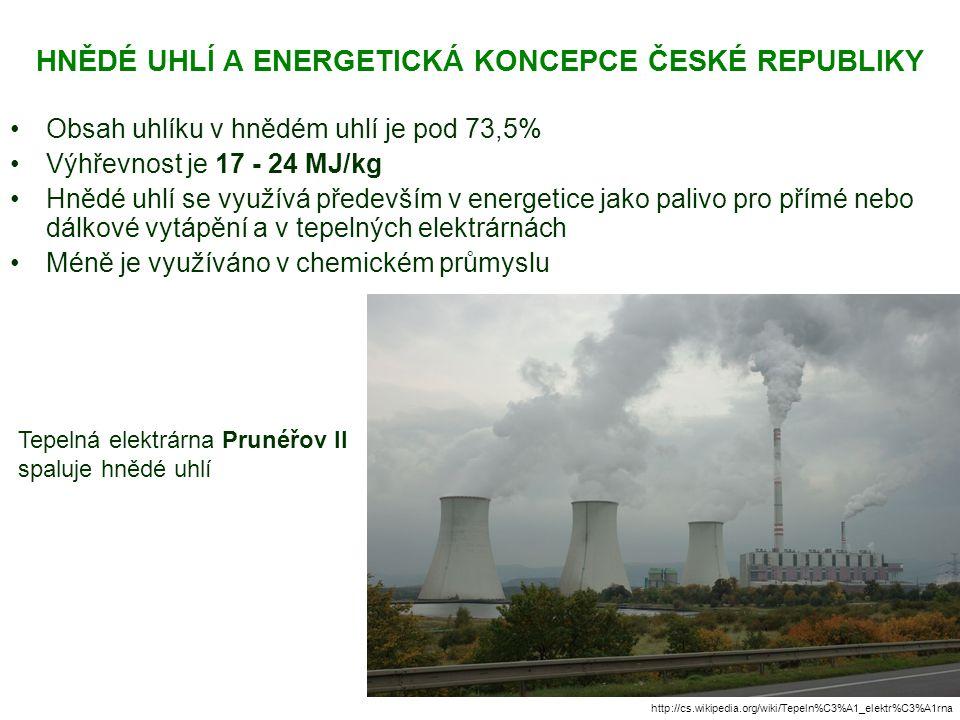HNĚDÉ UHLÍ A ENERGETICKÁ KONCEPCE ČESKÉ REPUBLIKY Obsah uhlíku v hnědém uhlí je pod 73,5% Výhřevnost je 17 - 24 MJ/kg Hnědé uhlí se využívá především