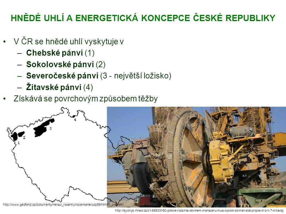 HNĚDÉ UHLÍ A ENERGETICKÁ KONCEPCE ČESKÉ REPUBLIKY V ČR se hnědé uhlí vyskytuje v –Chebské pánvi (1) –Sokolovské pánvi (2) –Severočeské pánvi (3 - nejv