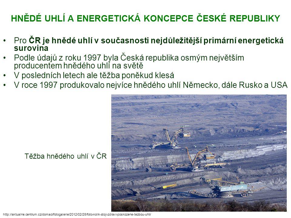 HNĚDÉ UHLÍ A ENERGETICKÁ KONCEPCE ČESKÉ REPUBLIKY Pro ČR je hnědé uhlí v současnosti nejdůležitější primární energetická surovina Podle údajů z roku 1
