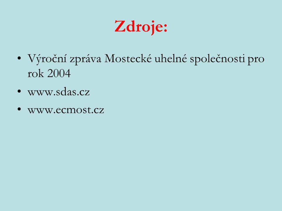 Zdroje: Výroční zpráva Mostecké uhelné společnosti pro rok 2004 www.sdas.cz www.ecmost.cz