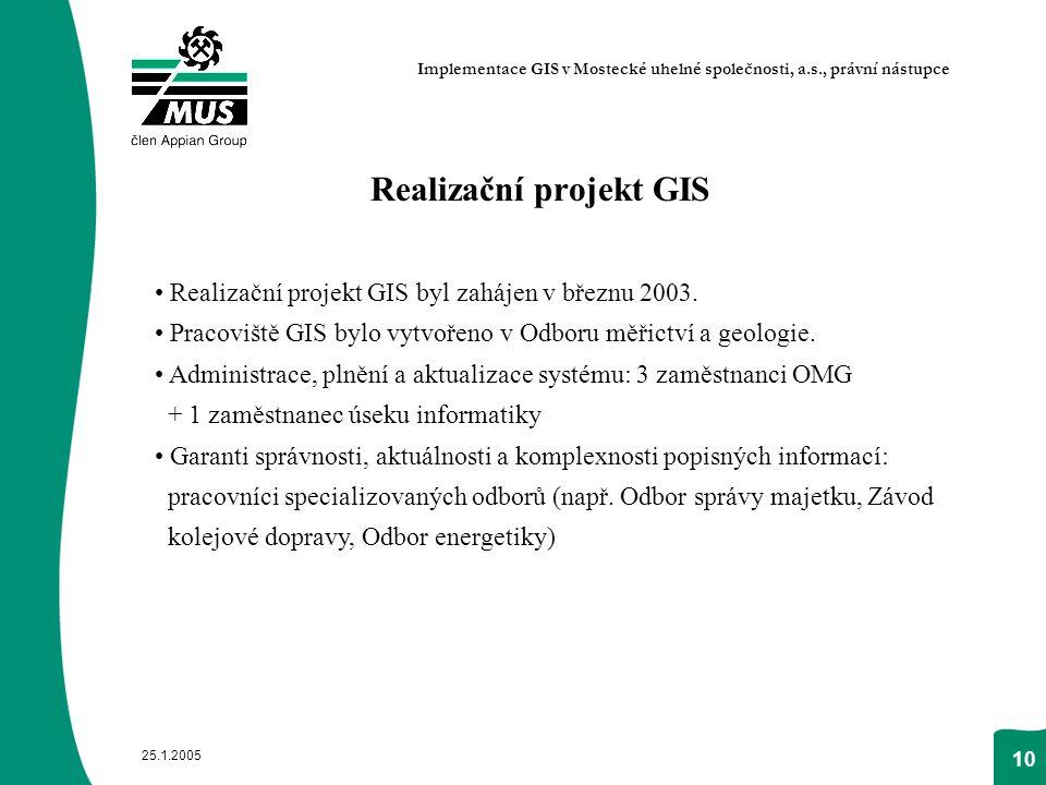 25.1.2005 10 Realizační projekt GIS Realizační projekt GIS byl zahájen v březnu 2003. Pracoviště GIS bylo vytvořeno v Odboru měřictví a geologie. Admi