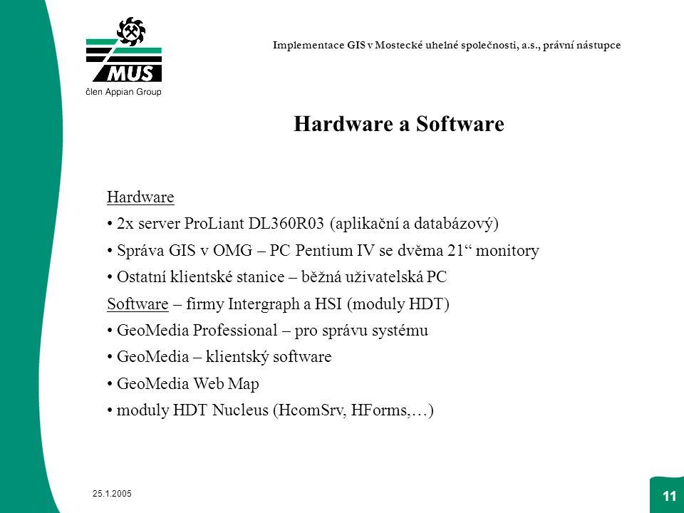 """25.1.2005 11 Hardware a Software Hardware 2x server ProLiant DL360R03 (aplikační a databázový) Správa GIS v OMG – PC Pentium IV se dvěma 21"""" monitory"""