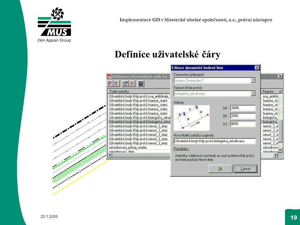 25.1.2005 19 Definice uživatelské čáry Implementace GIS v Mostecké uhelné společnosti, a.s., právní nástupce