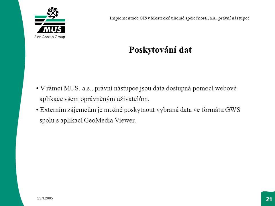 25.1.2005 21 Poskytování dat V rámci MUS, a.s., právní nástupce jsou data dostupná pomocí webové aplikace všem oprávněným uživatelům. Externím zájemců
