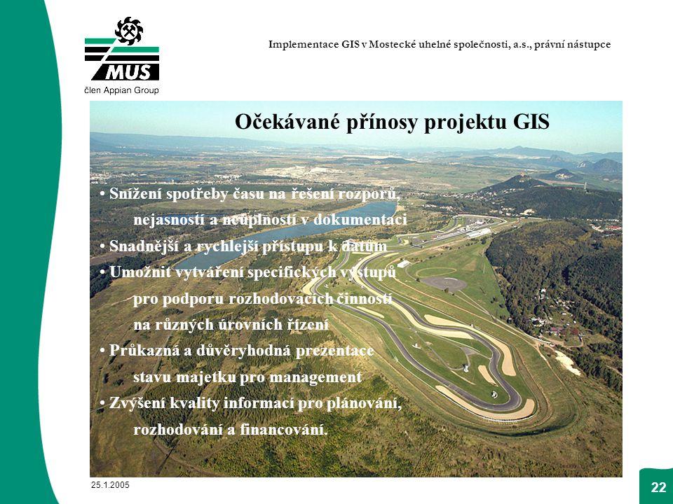25.1.2005 22 Očekávané přínosy projektu GIS Snížení spotřeby času na řešení rozporů, nejasností a neúplností v dokumentaci Snadnější a rychlejší příst