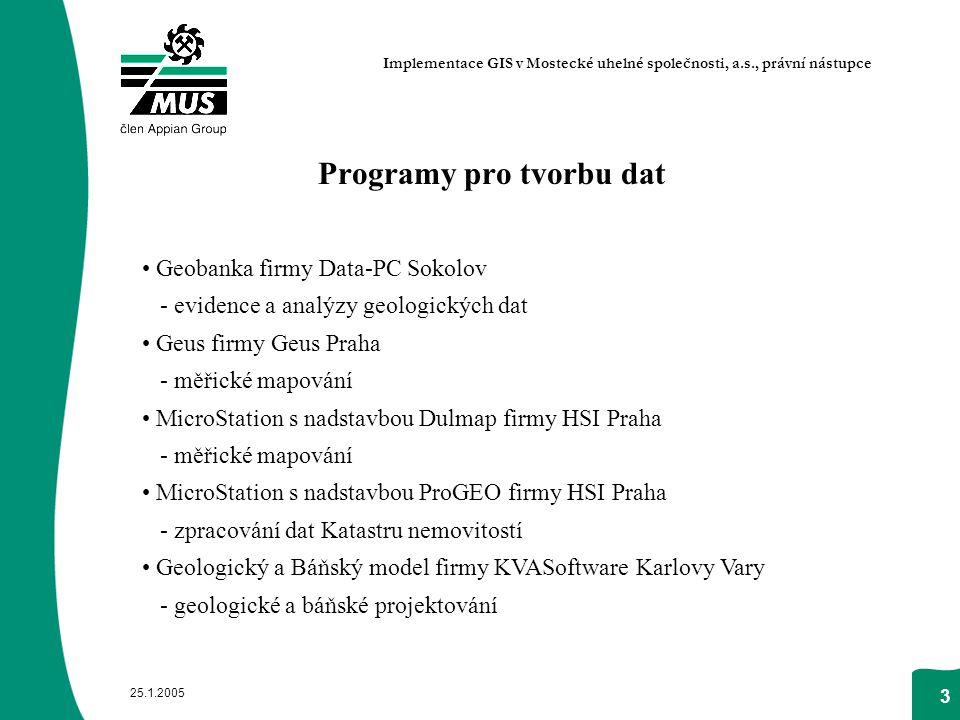 25.1.2005 3 Programy pro tvorbu dat Geobanka firmy Data-PC Sokolov - evidence a analýzy geologických dat Geus firmy Geus Praha - měřické mapování Micr