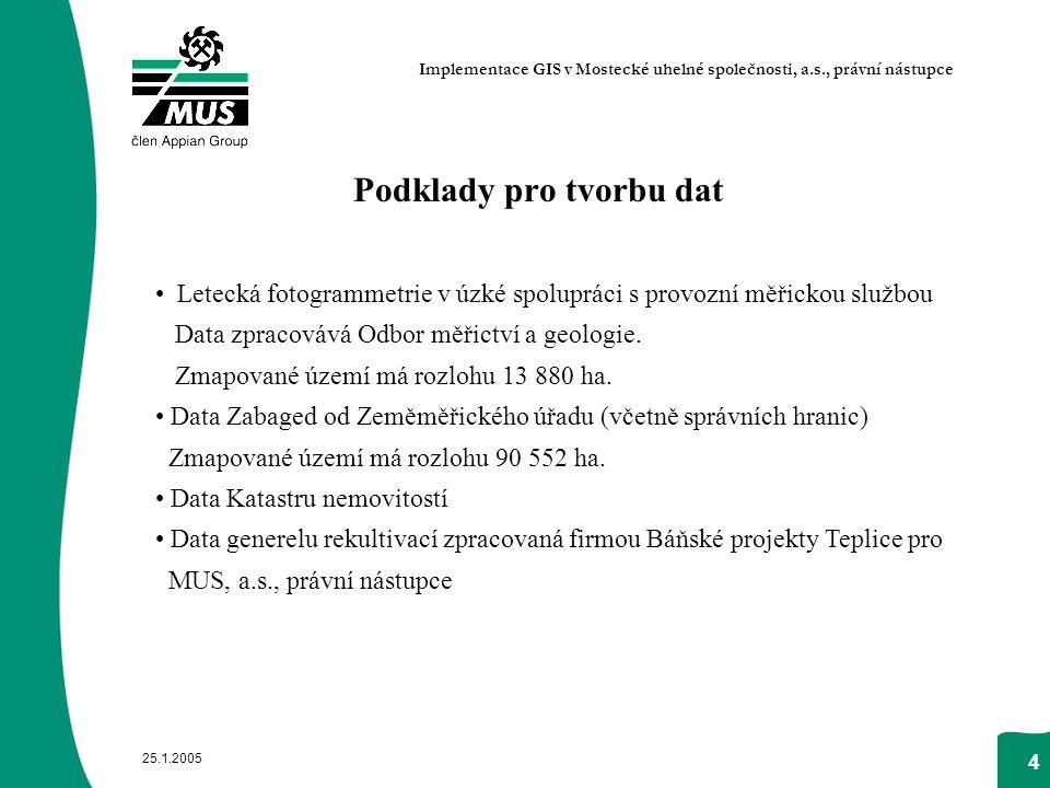 25.1.2005 4 Podklady pro tvorbu dat Letecká fotogrammetrie v úzké spolupráci s provozní měřickou službou Data zpracovává Odbor měřictví a geologie. Zm