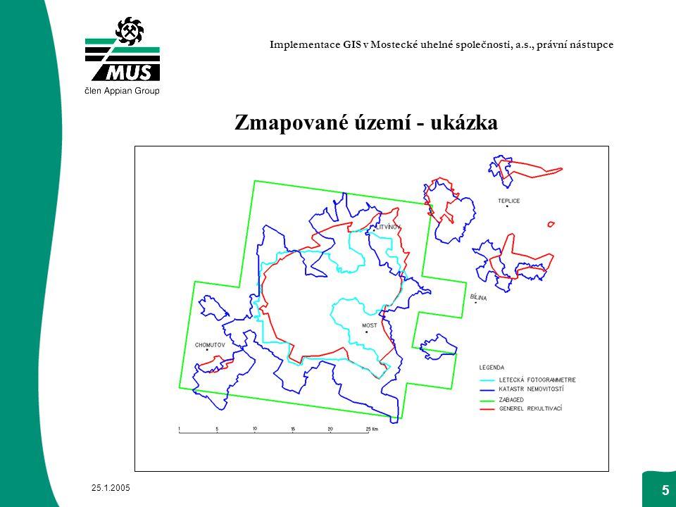 25.1.2005 5 Zmapované území - ukázka Implementace GIS v Mostecké uhelné společnosti, a.s., právní nástupce