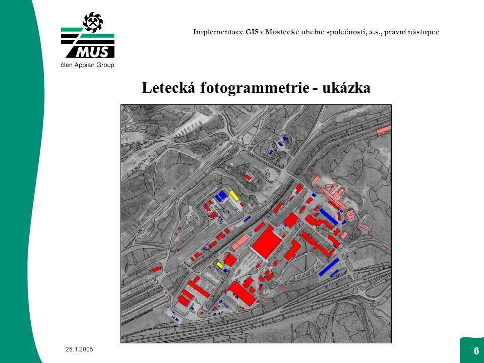 25.1.2005 6 Letecká fotogrammetrie - ukázka Implementace GIS v Mostecké uhelné společnosti, a.s., právní nástupce
