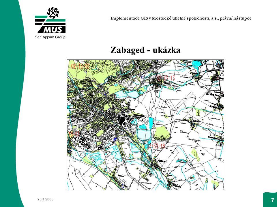 25.1.2005 7 Zabaged - ukázka Implementace GIS v Mostecké uhelné společnosti, a.s., právní nástupce