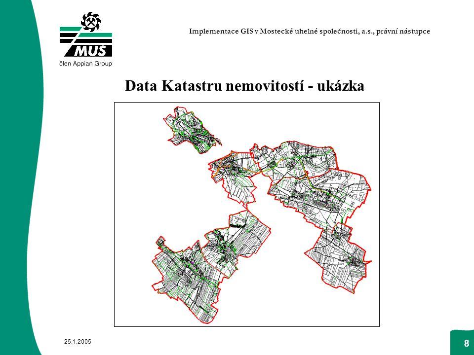 25.1.2005 8 Data Katastru nemovitostí - ukázka Implementace GIS v Mostecké uhelné společnosti, a.s., právní nástupce