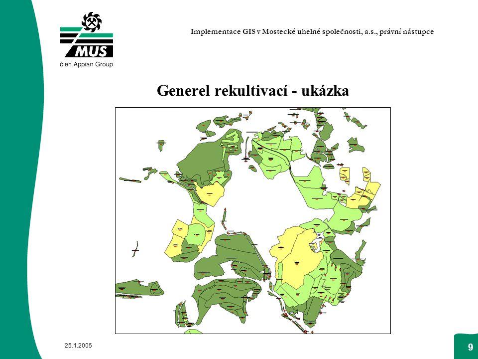 25.1.2005 9 Generel rekultivací - ukázka Implementace GIS v Mostecké uhelné společnosti, a.s., právní nástupce