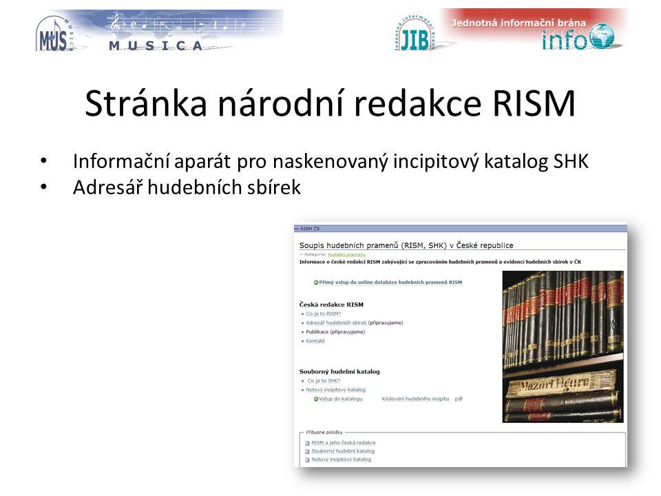 logo oborové brány Stránka národní redakce RISM Informační aparát pro naskenovaný incipitový katalog SHK Adresář hudebních sbírek