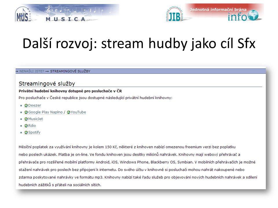 logo oborové brány Další rozvoj: stream hudby jako cíl Sfx