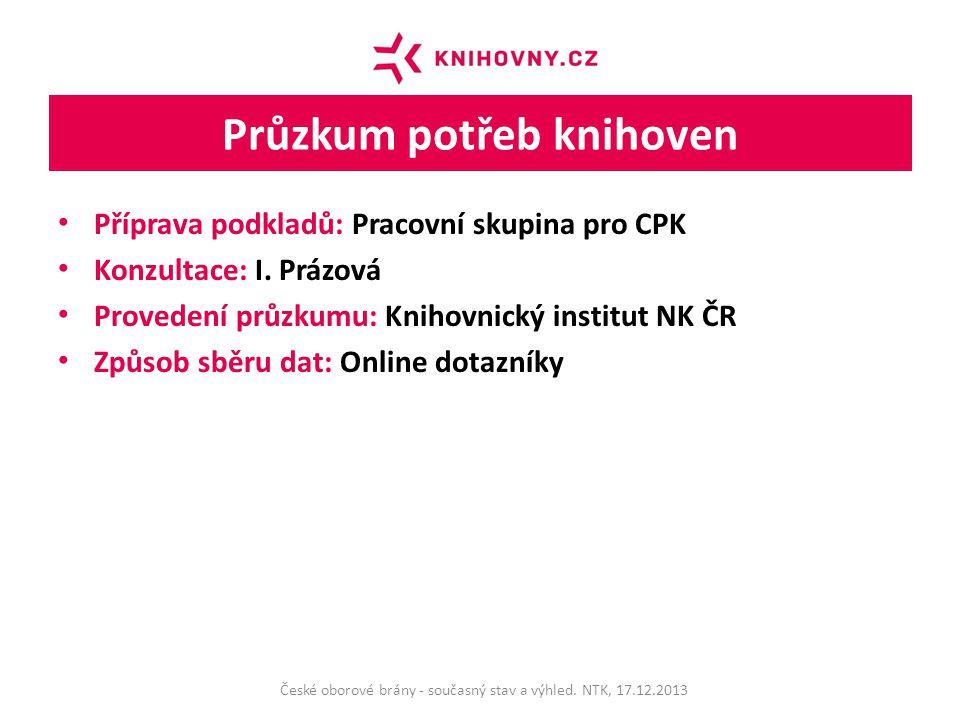 Průzkum potřeb knihoven Příprava podkladů: Pracovní skupina pro CPK Konzultace: I.