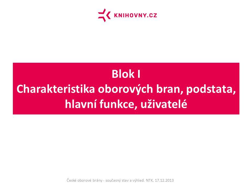 Blok II Oborové brány v návaznosti na Centrální portál českých knihoven České oborové brány - současný stav a výhled.