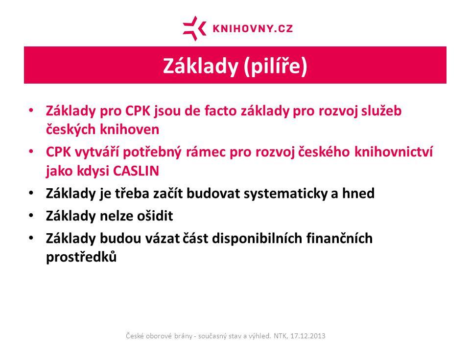 Základy (pilíře) Základy pro CPK jsou de facto základy pro rozvoj služeb českých knihoven CPK vytváří potřebný rámec pro rozvoj českého knihovnictví jako kdysi CASLIN Základy je třeba začít budovat systematicky a hned Základy nelze ošidit Základy budou vázat část disponibilních finančních prostředků České oborové brány - současný stav a výhled.