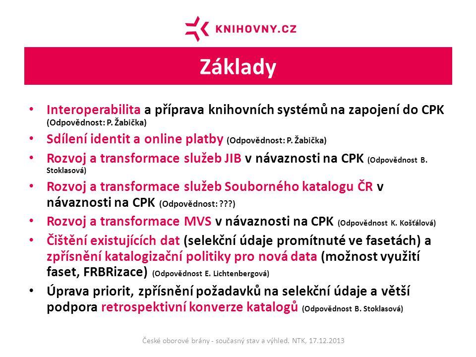 Základy Interoperabilita a příprava knihovních systémů na zapojení do CPK (Odpovědnost: P.