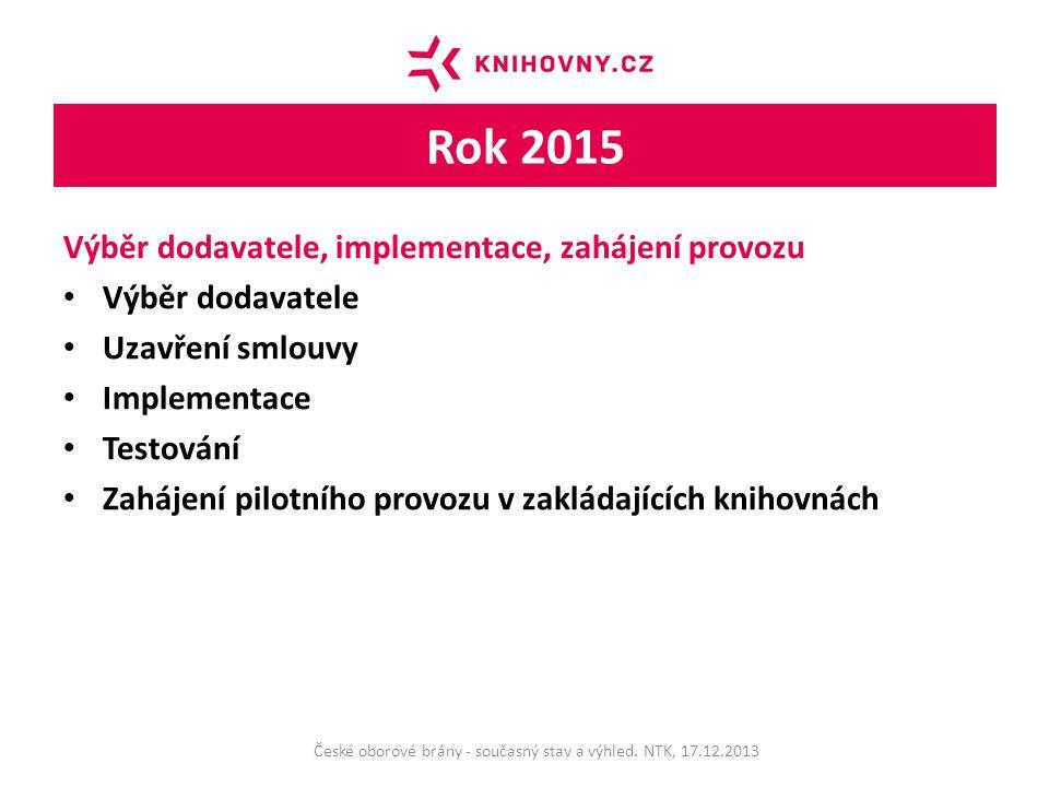Rok 2015 Výběr dodavatele, implementace, zahájení provozu Výběr dodavatele Uzavření smlouvy Implementace Testování Zahájení pilotního provozu v zakládajících knihovnách České oborové brány - současný stav a výhled.